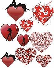 Wandtattoo/Aufkleber be52- A2-Bogen - verschiedene lustige Aufkleber für Kinder auf einem A2-Bogen mein Herz