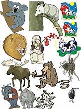 Wandtattoo/Aufkleber be73-A2-Bogen - verschiedene lustige Aufkleber für Kinder auf einem A2-Bogen aufstrebenden Waldökosysteme böse Tier