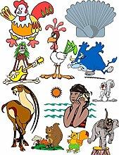 Wandtattoo/Aufkleber be83-A2-Bogen - verschiedene lustige Aufkleber für Kinder auf einem A2-Bogen Afrikanischen Tier Ökosysteme