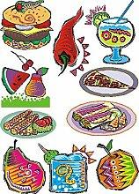 Wandtattoo/Aufkleber bf11-A2 - verschiedene lustige Aufkleber für Kinder auf einem A2 Bogen Essen Bilder Karikaturen