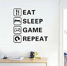 Wandtattoo Aufkleber Tapete Eat Sleep Game Junge