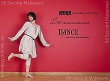 Wandtattoo Aufkleber - Work Love Dance - Zitat, Englisch - Rosa Glanz