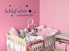Wandtattoo Babyzimmer für Kinderzimmer Spruch Schlaf schön und träume süß (110x40cm//049 königsblau)