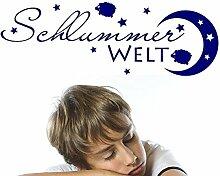 Wandtattoo Babyzimmer für Kinderzimmer Spruch Schlummer Welt mit Schäfchen (88x30cm//022 shellgelb)