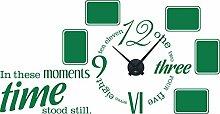 Wandtattoo Bilderrahmen Uhr für Wohnzimmer Spruch Wanduhr mit Uhrwerk Retro (Schwarz//061 grün)