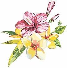 Wandtattoo Blumen Sommer Blüten Hibiskus Gräser