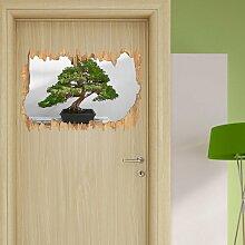 Wandtattoo Bonsai-Baum auf Holztisch East Urban