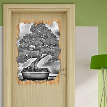 Wandtattoo Bonsai Baum in Monochrom East Urban Home