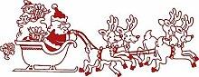 Wandtattoo Dekorfolie Weihnachtsmann mit Schlitten