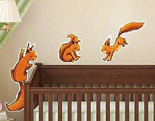 WandTattoo Drei Eichhörnchen Kinderzimmer, Einhörnchen, Hazel Nut, Streifenhörnchen, Waldtiere