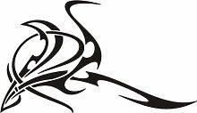 WANDTATTOO e424 krasse Skulptur Tribal Ranke Pflanze Blume Blüte Blatt 96x55 cm - schwarz