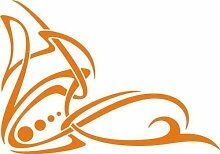 WANDTATTOO e438 hübsche Skulptur Tribal Ranke Pflanze Blume Blüte Blatt 96x67 cm - orange