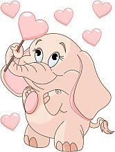 Wandtattoo Elefantenbaby mit Herzen +