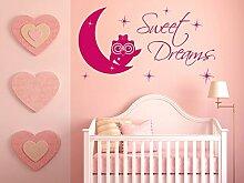 Wandtattoo Eule Aufkleber Kinderzimmer Mädchen Spruch Sweet Dreams als Wanddeko (72x40cm // 073 dunkelgrau)