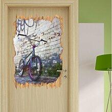 Wandtattoo Fahrrad vor Graffitiwand, BMX