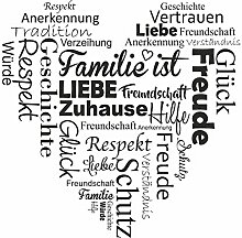 Wandtattoo Familienherz, Wandbild, Dekoration, Wohnidee, Geschenk, Geschenkidee (60 x 60 cm, schwarz)