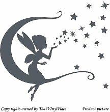 Wandtattoo Fee Mond und Sterne/Wandaufkleber 60 cm x 55 cm, Farbe dunkelgrau, Fee, peri, sprite, fay, Kinder Zimmer, Schlafzimmer Wandtattoo/Aufkleber, Vinyl, Fenster und Wand Aufkleber, Wand Windows-Art ThatVinylPlace Wandtattoo,