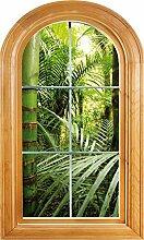 Wandtattoo Fenster Irre L Auge Deko Wald Bambus, 70x120cm