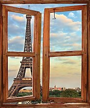 Wandtattoo Fenster Irre L Auge Eiffelturm Pferd réf744, 100x120cm