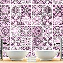 Wandtattoo Fliesendekor Muster Rosa Aufkleber für Badezimmer Ideen (Packung mit 32) - 10 x 10 cm