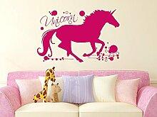 Wandtattoo für Kinderzimmer Mädchen Unicorn Pegasus mit Retrokreisen in Fairy (138x90cm//045 hellrosa)