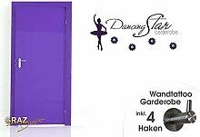Wandtattoo Garderobe inkl. 4 Haken Kinderzimmer Dancing Star Ballerina Blume (106x45cm // 054 türkis)