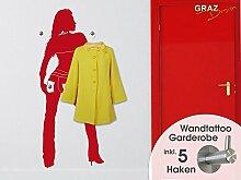 Wandtattoo Garderobe inkl. 4 Wandhaken für Flur Frau sexy weiblich Mensch (091 gold )