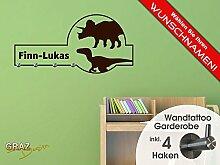 Wandtattoo Garderobe mit 4 Haken Kinderzimmer Dinosaurier Jungs Wunschname (90x45cm // 080 braun)