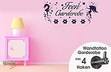 Wandtattoo Garderobe mit 4 Haken Kinderzimmer Mädchen Fee Elfe Sterne Blumen (110x45cm // 043 lavendel)