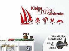 Wandtattoo Garderobe mit 4 Haken Kinderzimmer Piraten Schiff Palme Schwert (105x45cm // 090 silbergrau)