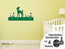 Wandtattoo Garderobe mit 4 Haken Kinderzimmer Rehkitz mit Blumen Mädchen (83x45cm // 030 dunkelrot)
