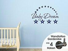 Wandtattoo Garderobe mit 4 Kleiderhaken Kinderzimmer Baby Dream Sterne Stars (67x45cm // 073 dunkelgrau)
