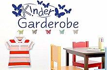 Wandtattoo Garderobe mit 5 Wandhaken für Kinderzimmer Kindergarderobe (137x57cm // 080 braun // Schmetterlingshaken +5st)