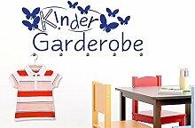 Wandtattoo Garderobe mit 5 Wandhaken für Kinderzimmer Kindergarderobe (137x57cm // 034 orange // Haken 5Stück)