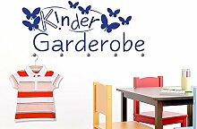 Wandtattoo Garderobe mit 5 Wandhaken für Kinderzimmer Kindergarderobe (137x57cm // 819 dalhia pink // Haken 5Stück)