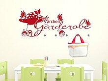 Wandtattoo Garderobe mit 5 Wandhaken für Kinderzimmer Märchen Garderobe (150x57cm // 826 oasis // Haken 5Stück)