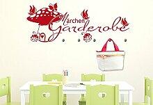 Wandtattoo Garderobe mit 5 Wandhaken für Kinderzimmer Märchen Garderobe (150x57cm // 056 lichtblau // Haken 5Stück)