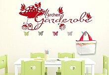 Wandtattoo Garderobe mit 5 Wandhaken für Kinderzimmer Märchen Garderobe (150x57cm // 049 königsblau // Schmetterlingshaken +5st)