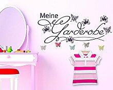 Wandtattoo Garderobe mit 5 Wandhaken für Kinderzimmer Meine Garderobe Falter (141x57cm // 073 dunkelgrau // Schmetterlingshaken +5st)