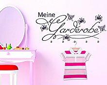 Wandtattoo Garderobe mit 5 Wandhaken für Kinderzimmer Meine Garderobe Falter (141x57cm // 816 Antique White // Haken 5Stück)