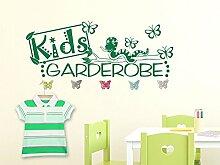 Wandtattoo Garderobe mit 5 Wandhaken für Kinderzimmer Schriftzug Kids Garderobe (148x57cm // 082 beige // Schmetterlingshaken +5st)