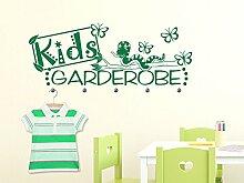 Wandtattoo Garderobe mit 5 Wandhaken für Kinderzimmer Schriftzug Kids Garderobe (148x57cm // 841 blue grey // Haken 5Stück)
