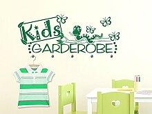 Wandtattoo Garderobe mit 5 Wandhaken für Kinderzimmer Schriftzug Kids Garderobe (148x57cm // 043 lavendel // Haken 5Stück)