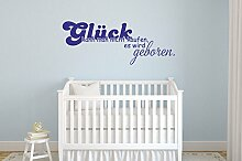 Wandtattoo Glück kann man nicht kaufen Nr 2 Kinderzimmer Deko Babyzimmer Aufkleber von Wandtattoo-bilder in 30 Farben und 5 Größen Größe 160x61, Farbe Türkis
