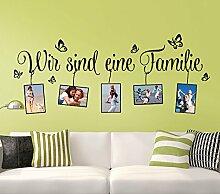 Wandtattoo-Günstig G107 Spruch Wir sind eine Familie + Bilderrahmen Wandaufkleber Wandsticker dunkelgrün (BxH) 106 x 43 cm