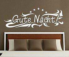 Wandtattoo Gute Nacht Stern Spruch Aufkleber Schlafzimmer Kinderzimmer 1D175, Farbe:Dunkelgrün Matt;Motiv Länge:80cm