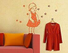 Wandtattoo Haken No.RS26 Sterntaler Kinder Kleid Märchen Kleidung Accessoires, Farbe:Gelbgrün;Größe:71cm x 90cm