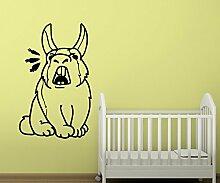 Wandtattoo Hase Kaninchen Karotte Möhre Wandsticker Wandaufkleber Cartoon Tier Tür WC Aufkleber Kinderzimmer 1B297, Farbe:Dunkelgrau Matt;Hohe:100cm