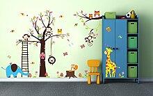 Wandtattoo kinder Babyzimmer Aufkleber Eule Eulen Wandsticker Wand Waldtiere Kinderzimmer Wandaufkleber Dekoration fürs Baby Kindergarten Baum Tiere XXL