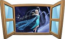 Wandtattoo Kinder Fenster Die Eiskönigin OEM 972, 120x72cm